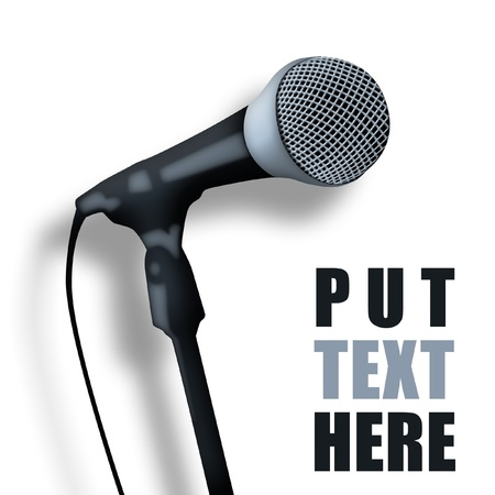 public speaking: Old microphone with space for text. Stock Photo