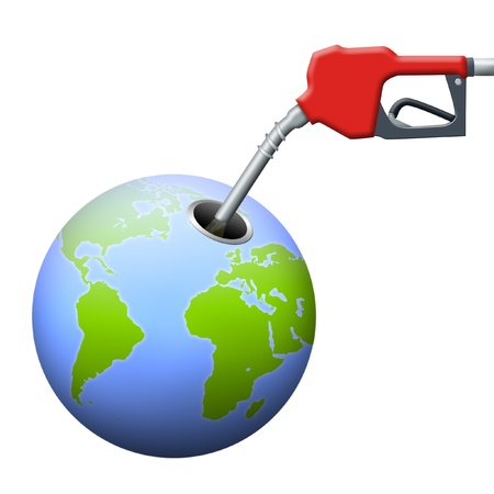 fossil fuel: Earth being pumped with gas.