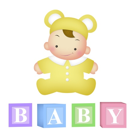 letter blocks: Baby with letter blocks that spell BABY. Stock Photo