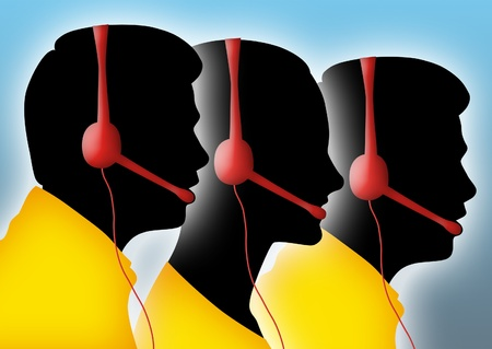 office force: Silhouettes of call center agents.