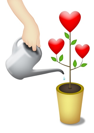 Watering and nurturing plant with hearts.