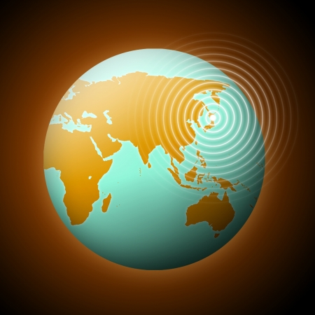 Earth with quake waves in Japan. photo