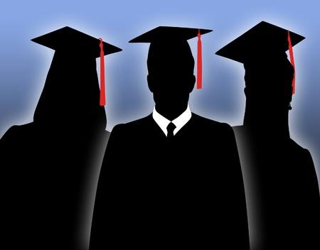 toga: Siluetas de graduados de la escuela en togas.