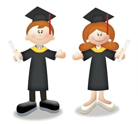 Cartoon graduates in togas holding diplomas.