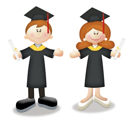 educated: Cartoon graduates in togas holding diplomas.