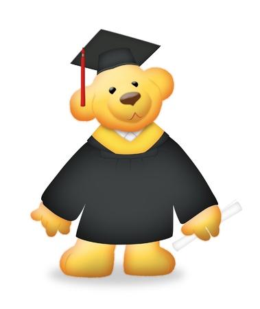 Graduation teddy bear wearing toga.