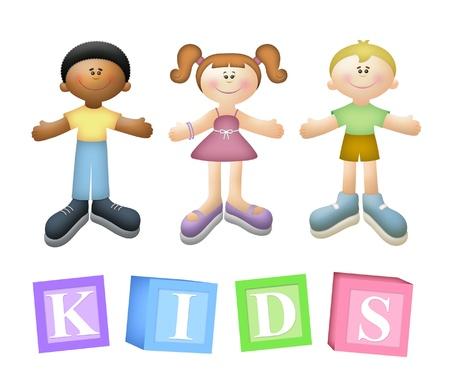 Three children with blocks spelling KIDS. Standard-Bild