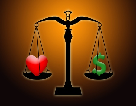 Scale weighing love against money. photo