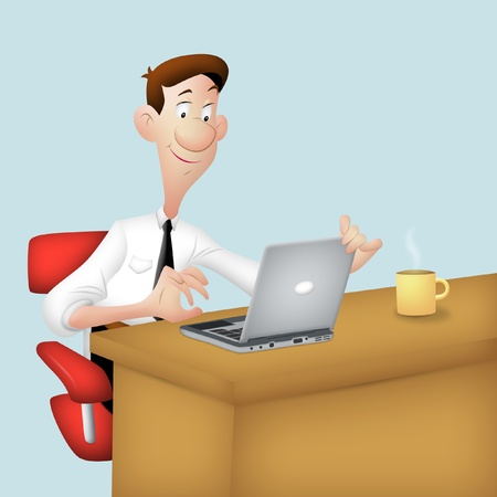 Guy working in office with laptop. Stock Photo - 9253900