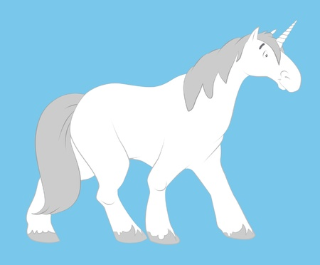 White cartoon unicorn walking. photo