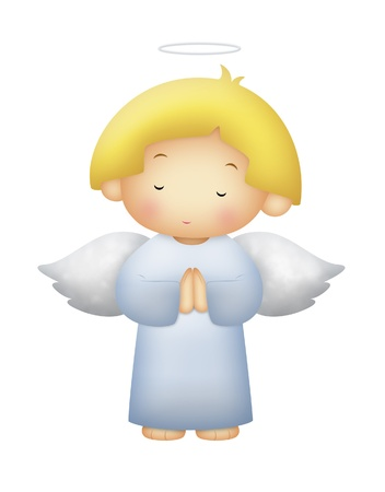 Angel with yellow hair praying. White background.