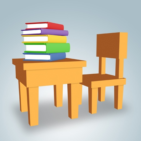 Chair and table with colored books.