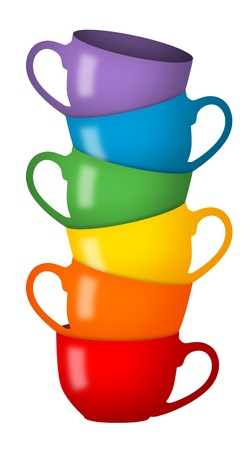stacked: Stack of coffee cups in rainbow colors.