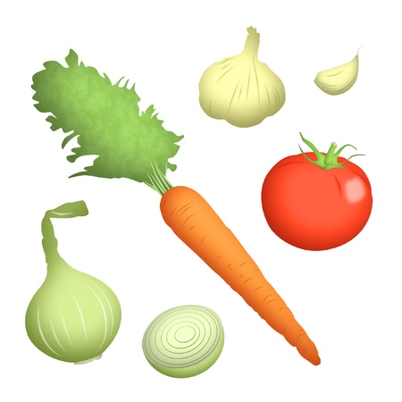 fighting cancer: Carrot, onion, garlic and tomato illustration.