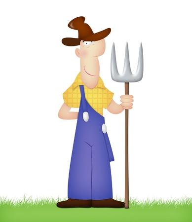 hay field: Cartoon farmer holding pitchfork.