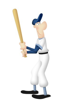 sports jersey: Cartoon of baseball batter in batting pose. Stock Photo