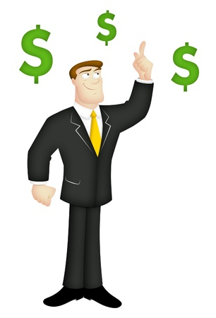 sales executive: Cartoon businessman with money-making idea. Stock Photo