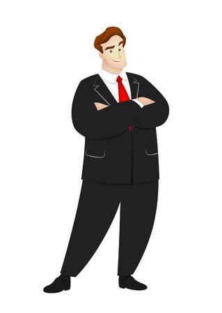 Cartoon businessman in confident pose.