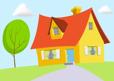 Yellow cartoon house with red roof.
