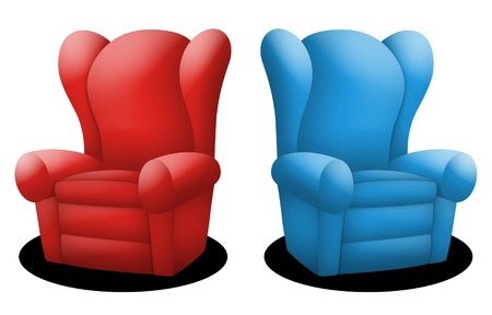 couch potato: Couches in red and blue facing opposite each other.