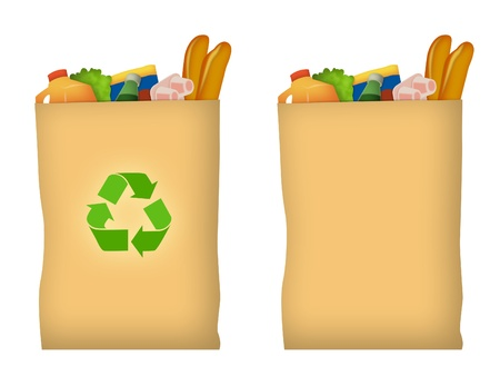 Brown paper grocery bag with recycle symbol.