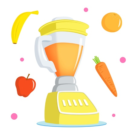 juicer: Juice blender with banana, apple, orange and carrot.