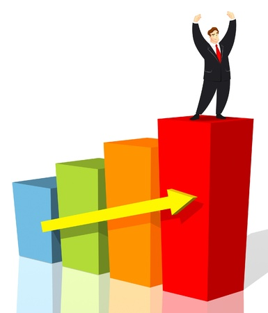 victorious: Victorious man standing on business graph. Stock Photo
