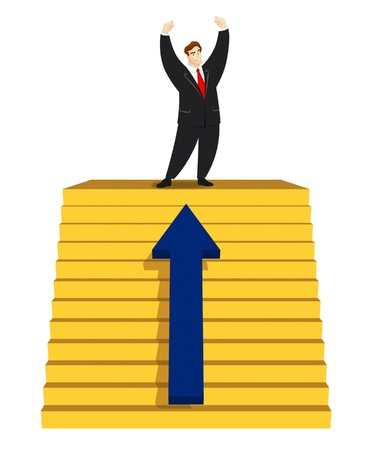 victorious: Victorious businessman standing on top of stairs.
