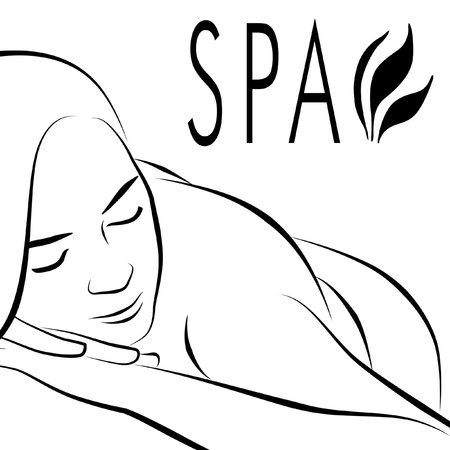 Logo for spa with woman lying down for massage. Stock Photo - 9832518