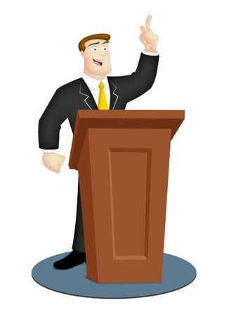 preacher: Cartoon speaker in business suit with rostrum. Stock Photo