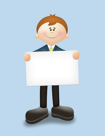 warm welcome: Cute cartoon guy holding a blank card. Stock Photo