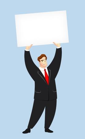 Cartoon guy holding a blank card. photo