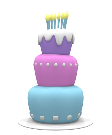 3D pastel colored cake with candles.