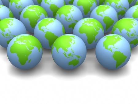 conservationist: 3D globes side by side with space for text.
