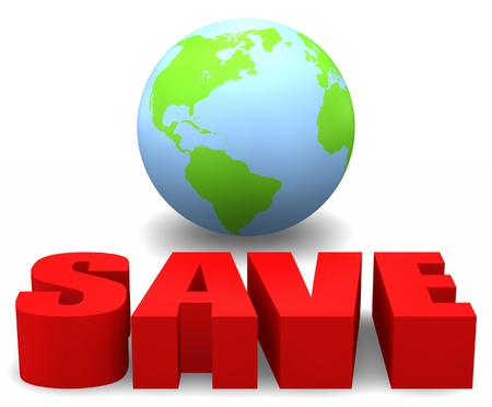 3D globe with the word SAVE. photo