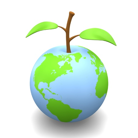 Earth as fruit with stem and leaves.
