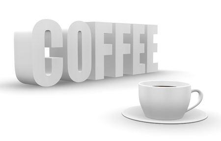creamer: 3D coffee word with cup and saucer.