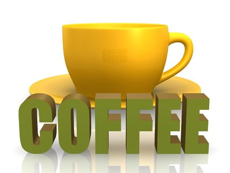 steaming: 3D coffee word with cup and saucer.