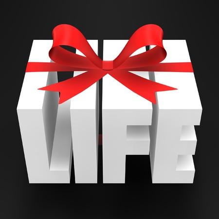 dar un regalo: Palabra 3D con cinta roja.