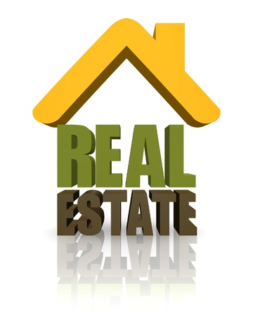 makler: 3D-Zeichen f�r Immobilien mit Text. Lizenzfreie Bilder