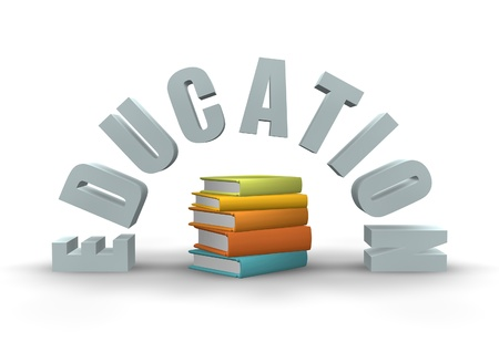 educativo: Signo 3D para educación con texto y libros.