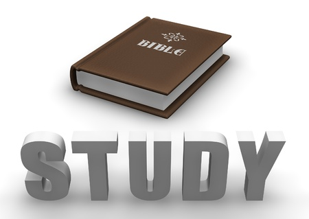 holy book: Bible with 3D word STUDY