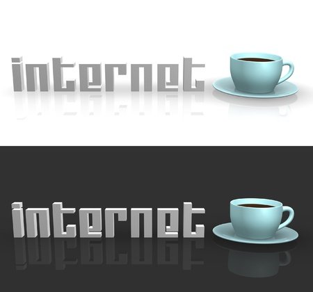 Internet Cafe sign with blue cup and saucer. Фото со стока