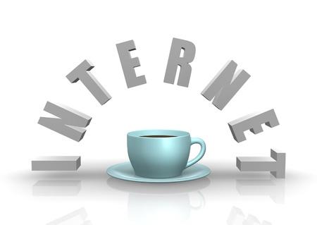 cafe internet: Suscripción a Internet Cafe con la taza azul y platillo. Foto de archivo