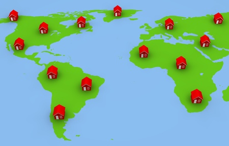 lots: Map with red houses in different areas.