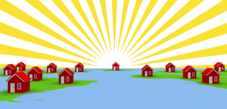 Map with red houses and sun rays. photo