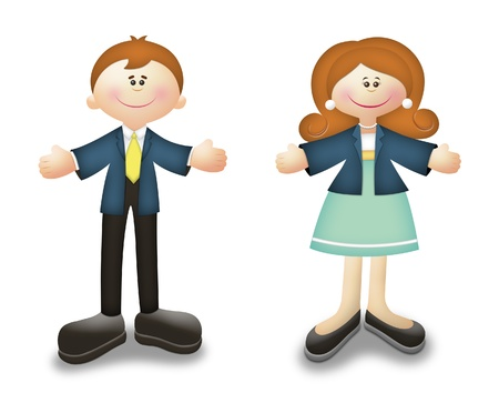Cartoon career people in business suits. Stock Photo - 10395517