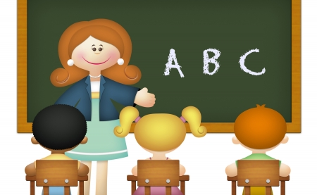 teacher: Teacher teaching ABC to students in classroom.