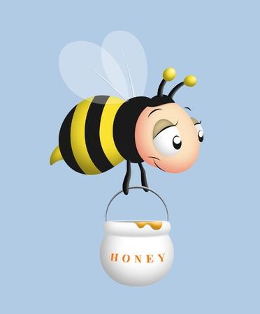 gathering: Flying bumblebee carrying pot of honey.
