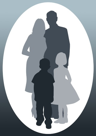 Silhouettes of dad, mom, boy and girl. photo